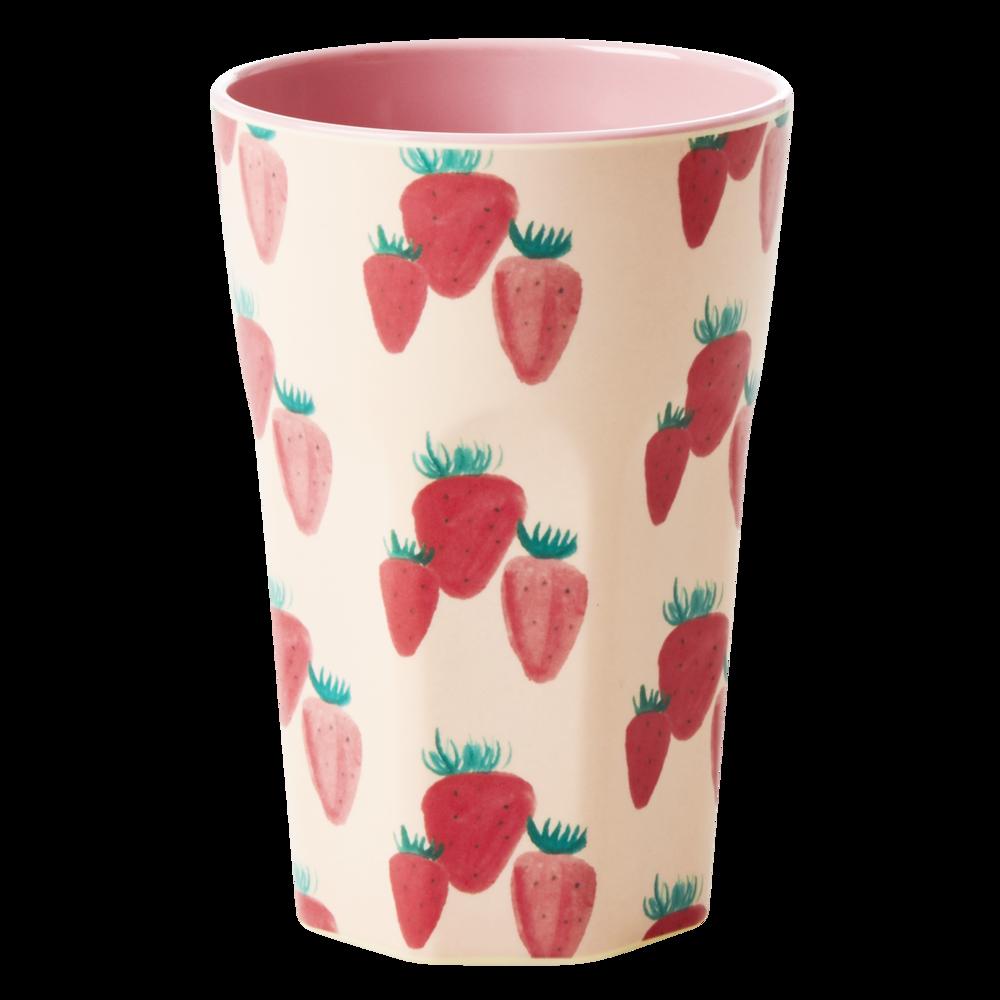 RICE Großer Melamin Becher Erdbeere