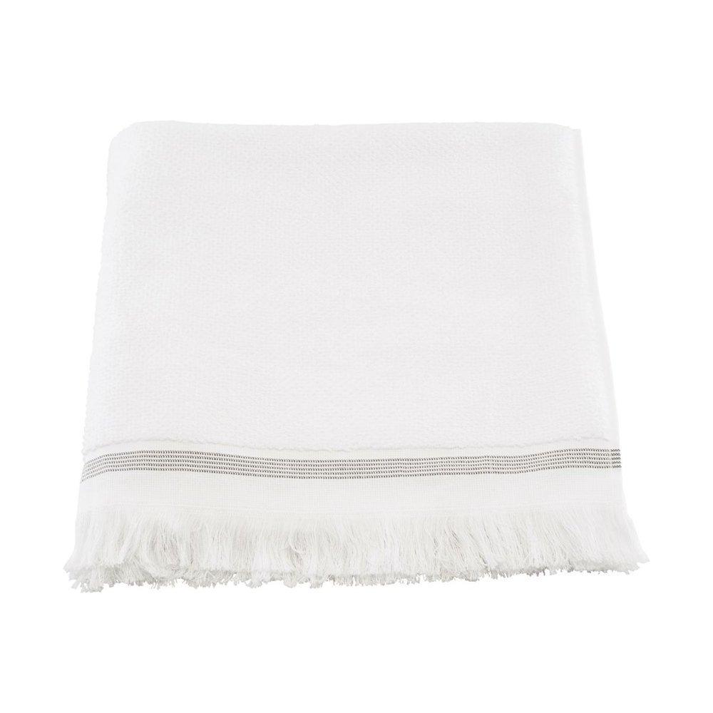 Meraki Handtuch Bio Baumwolle weiß mit grauen Streifen