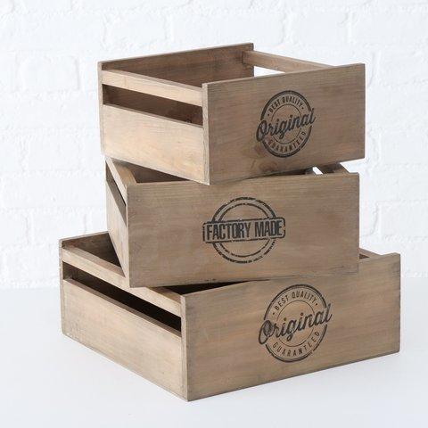 Boltze Holz-Box Original, 3er Set