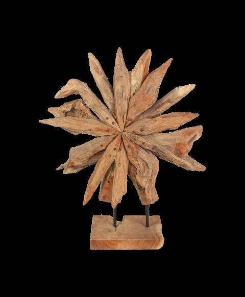 HSM Collection Holzskulptur Sonnenblume Teak Wurzelholz