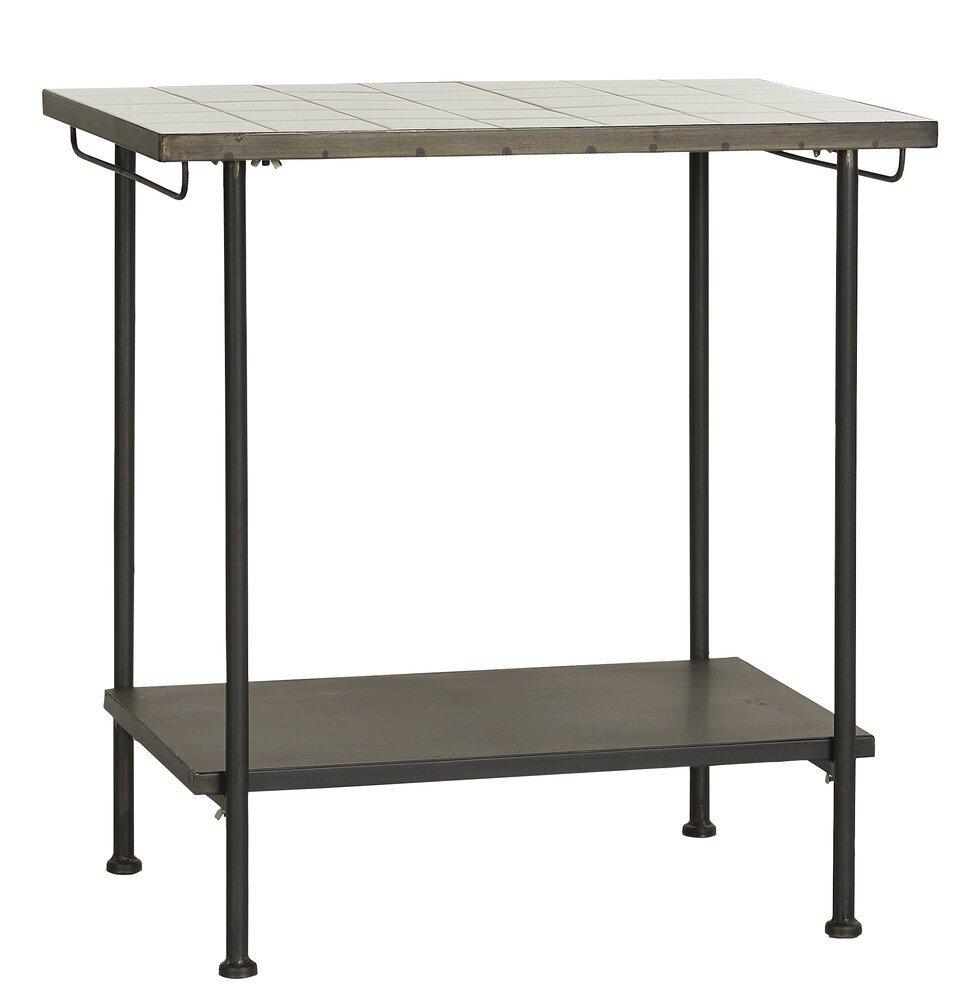 Ib Laursen Fliesentisch mit 1 Ablage und 2 Stangen