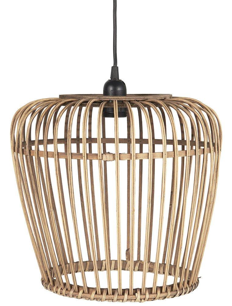 Ib Laursen Hängelampe Bambus mit schwarzem Kabel