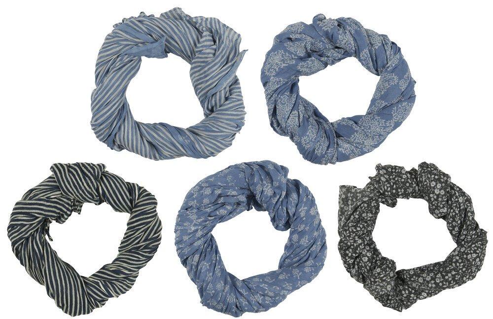 Ib Laursen Halstuch blau mit Muster