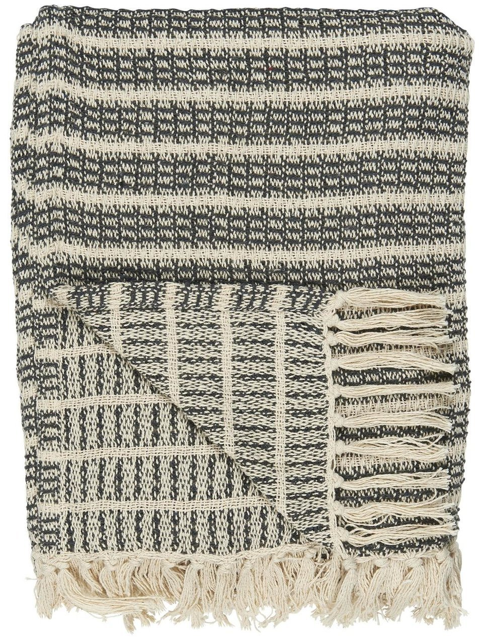 Ib Laursen Decke mit Streifenmuster und Fransen