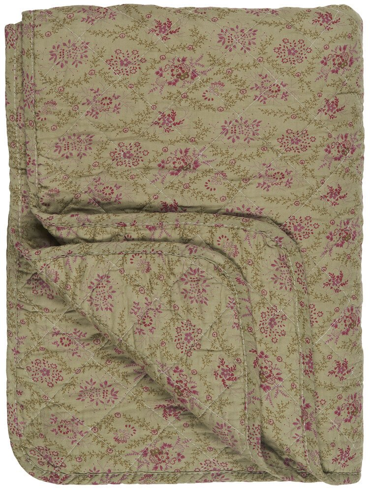 Ib Laursen Quilt olive mit rosa Blumen