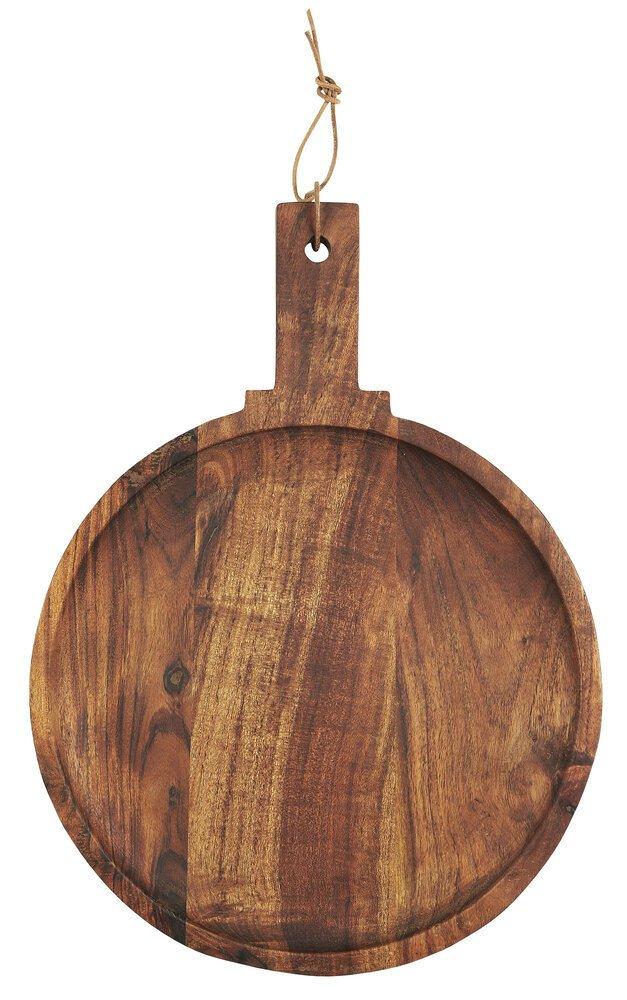 Ib Laursen Tapasteller mit Griff aus geöltem Akazienholz