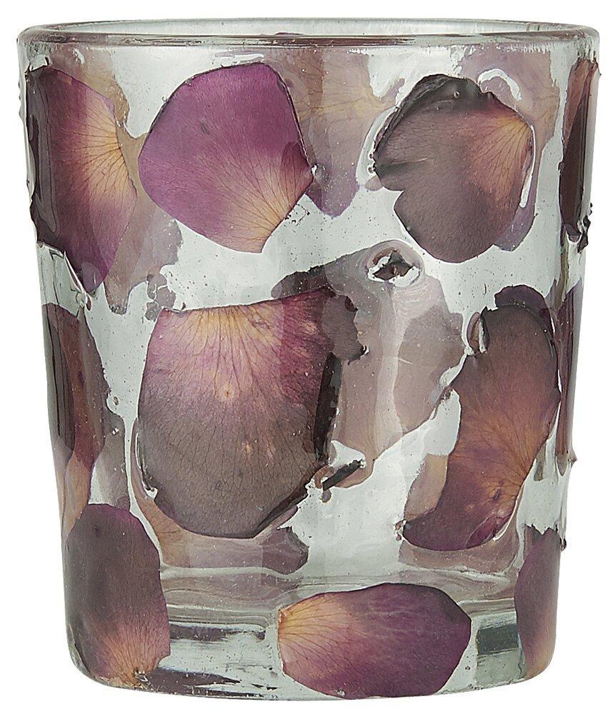 Ib Laursen Teelichtglas mit Rosenblättern
