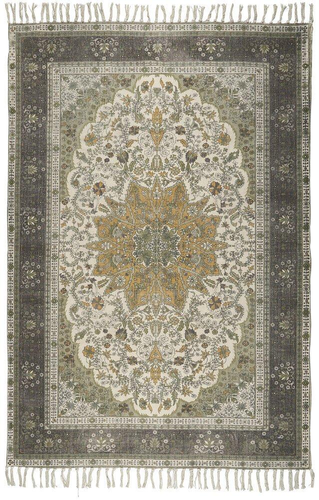 Ib Laursen Teppich grün/braun/golden handgewebt
