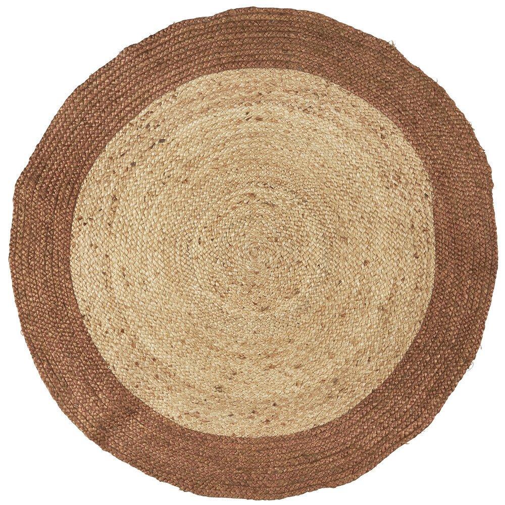 Ib Laursen Teppich rund mit brauner Kante