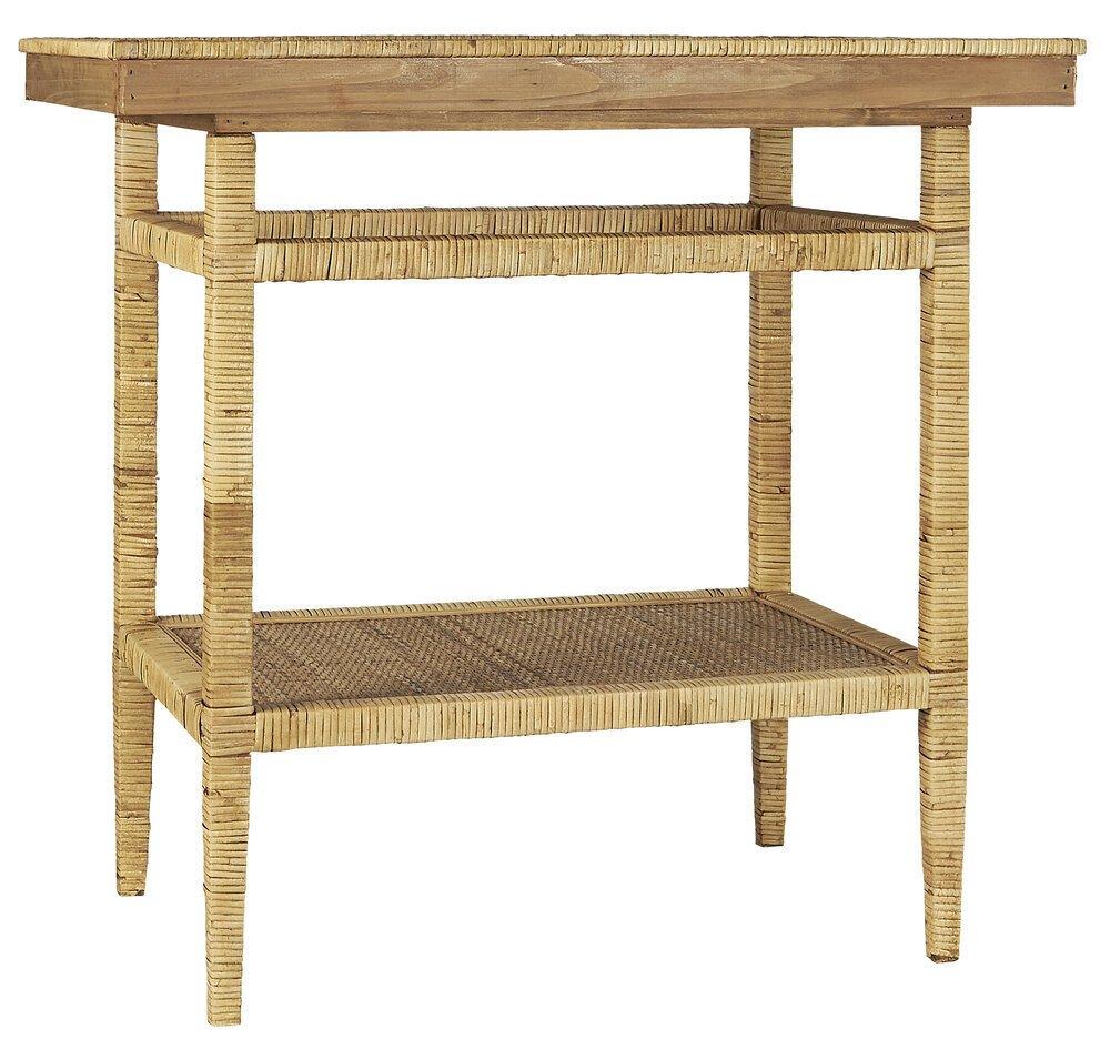 Ib Laursen Tisch mit Ablage Bambusgeflecht