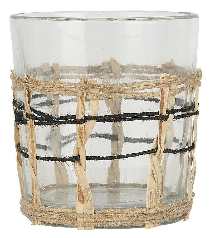 Ib Laursen Windlicht für Teelicht Glas und Bambus