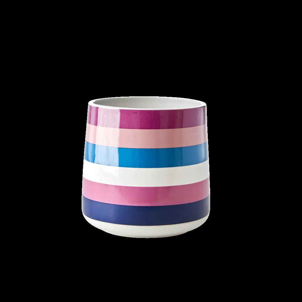 RICE Keramik Behälter Streifen