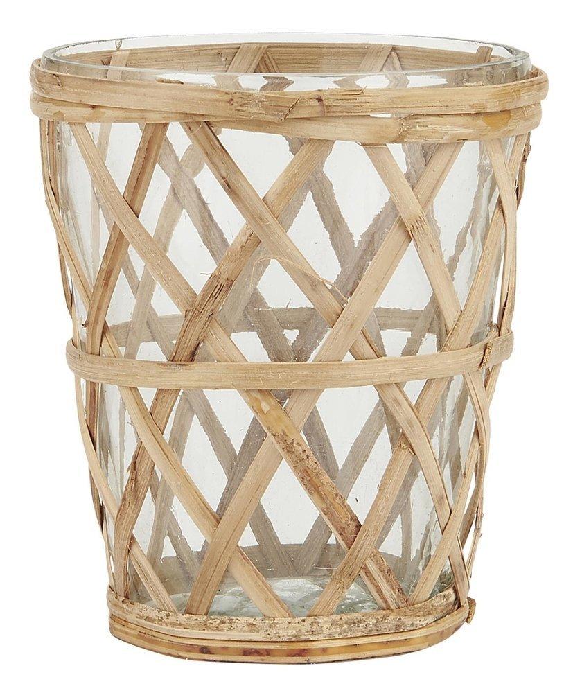 Ib Laursen Kerzenhalter für Teelicht mit Bambusgeflecht