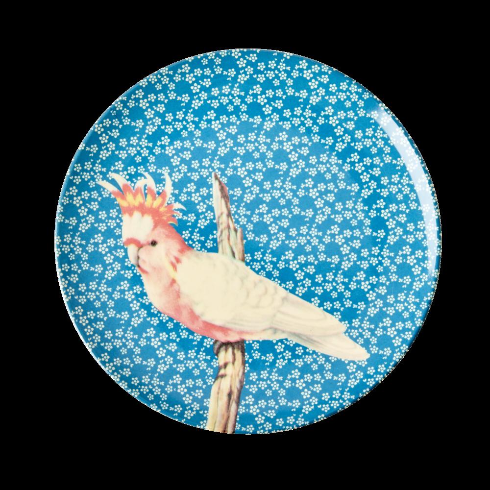 RICE Kleiner Melamin Teller Vintage Bird