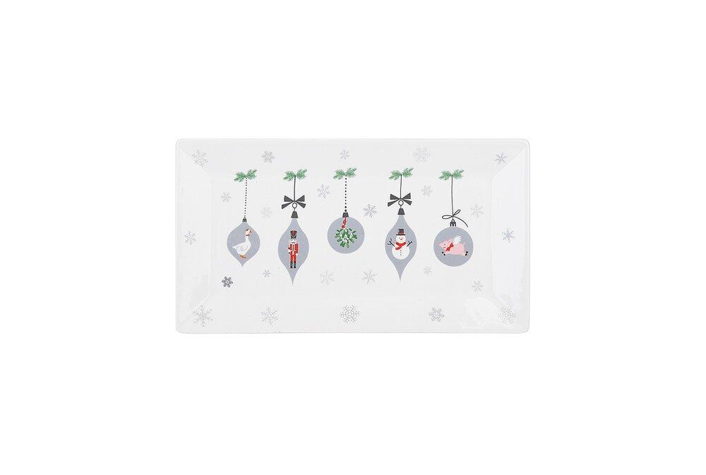 Krasilnikoff Tablett, Tray X-Mas Ornaments