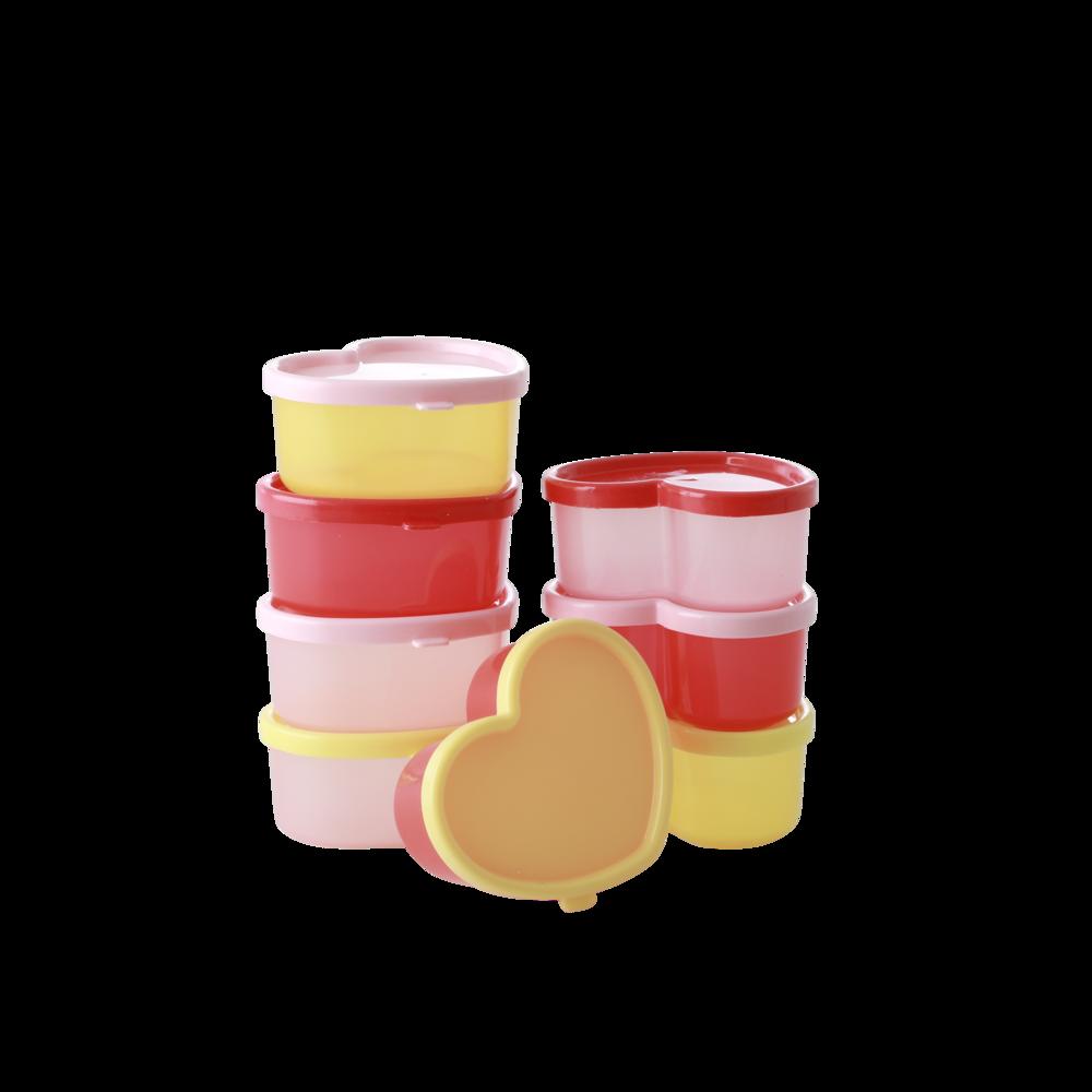 RICE Kunststoff Aufbewahrungsdosen in Herzform 8er Set