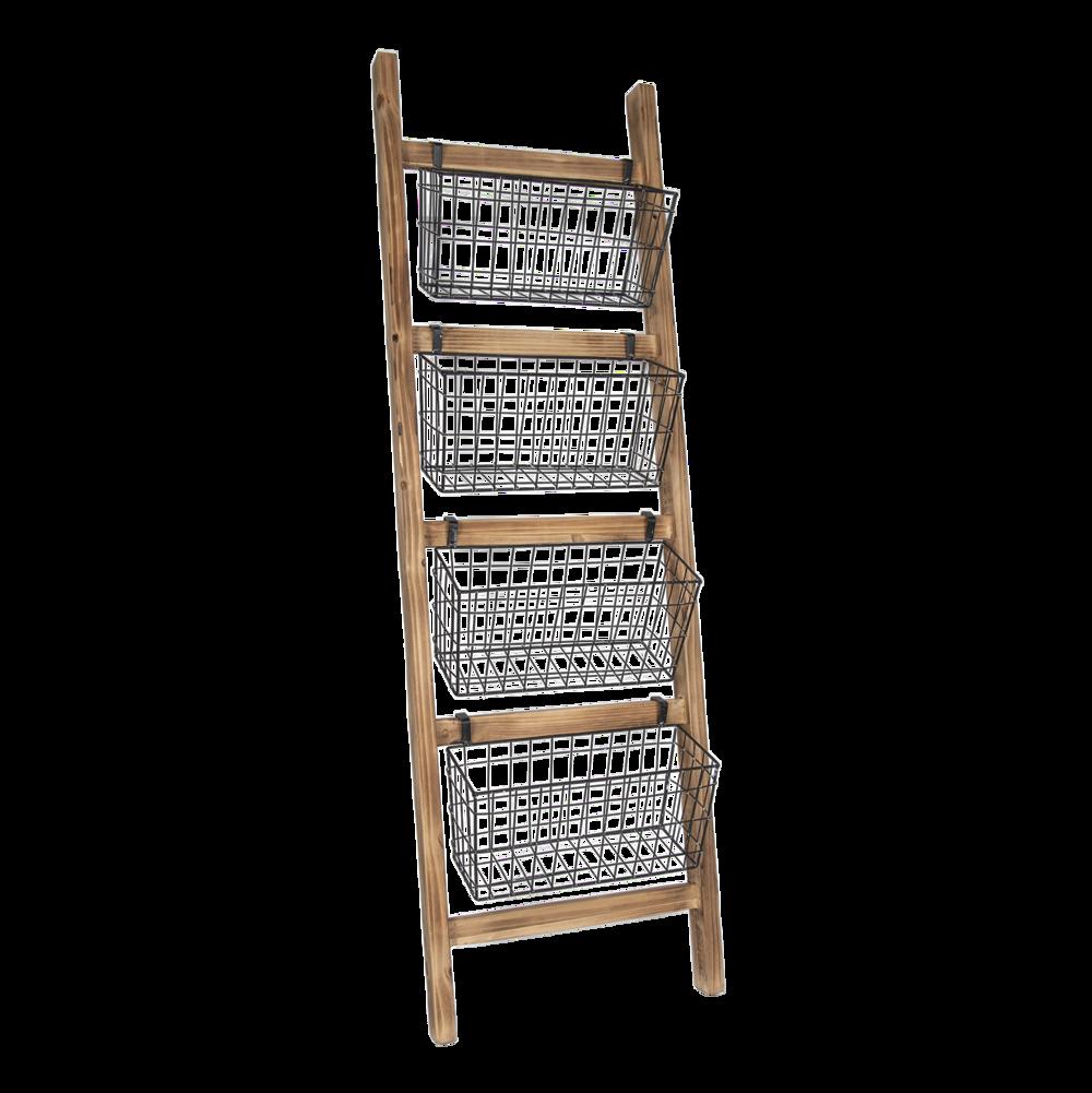 Clayre & Eef Leiterregal aus Holz mit Metallkörben
