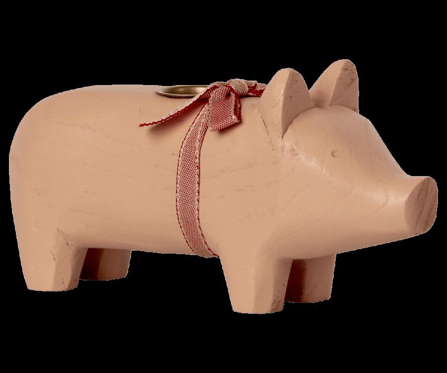 Maileg Kerzenhalter Schwein aus Holz