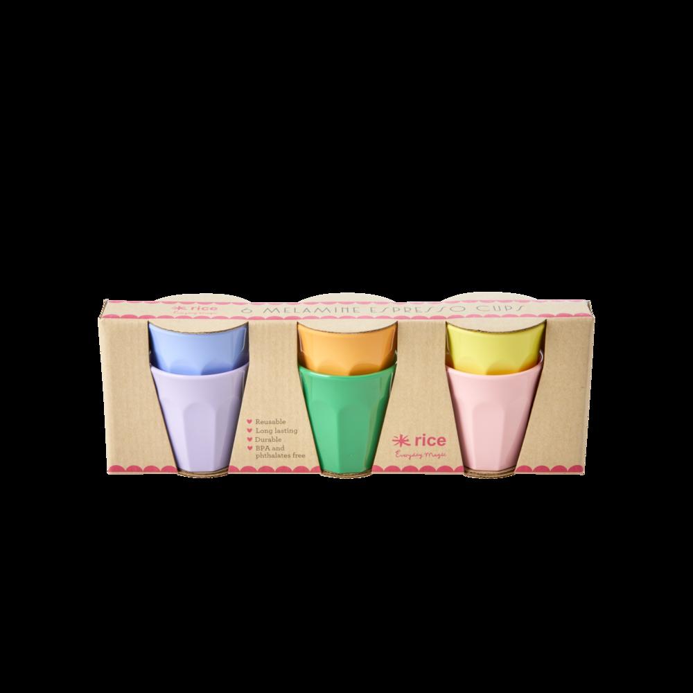 RICE Melamin Espresso Cups 6er Becher-Set Let's Summer