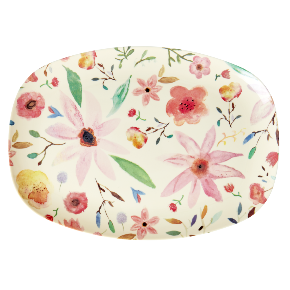 RICE Melamin Plate Tablett Selmas Flower Print