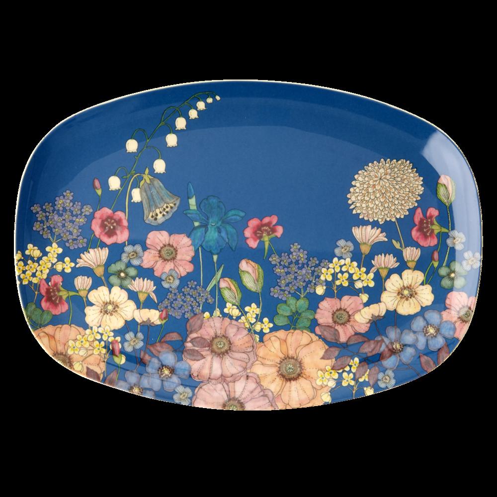 RICE Melamin Tablett Plate Flower Collage