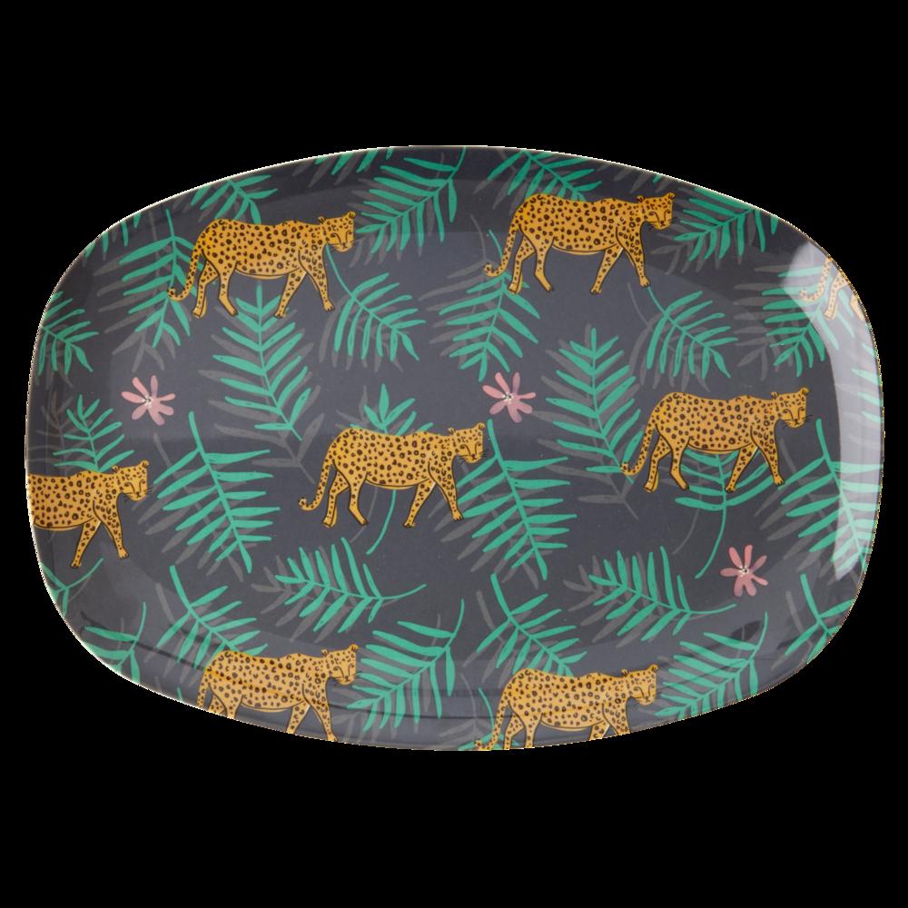 RICE Melamin Tablett Plate Leopard and Leaves