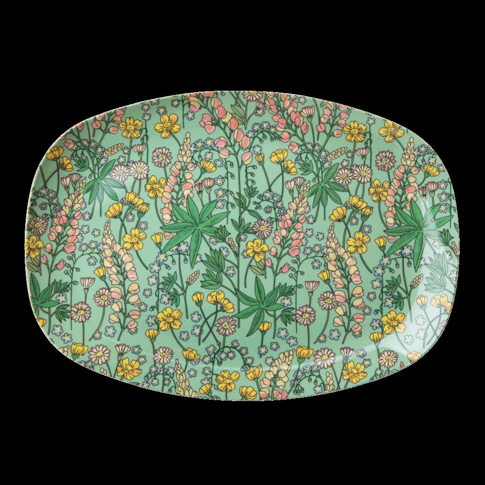 RICE Melamin Tablett Plate Lupin Print
