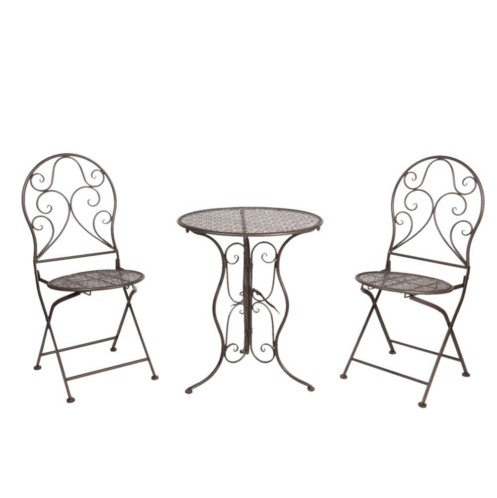Clayre & Eef Metall Bistrotisch mit 2 Stühlen