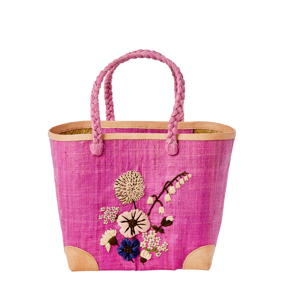 RICE Raffia Fantasy Bag with Blumen Stickerei