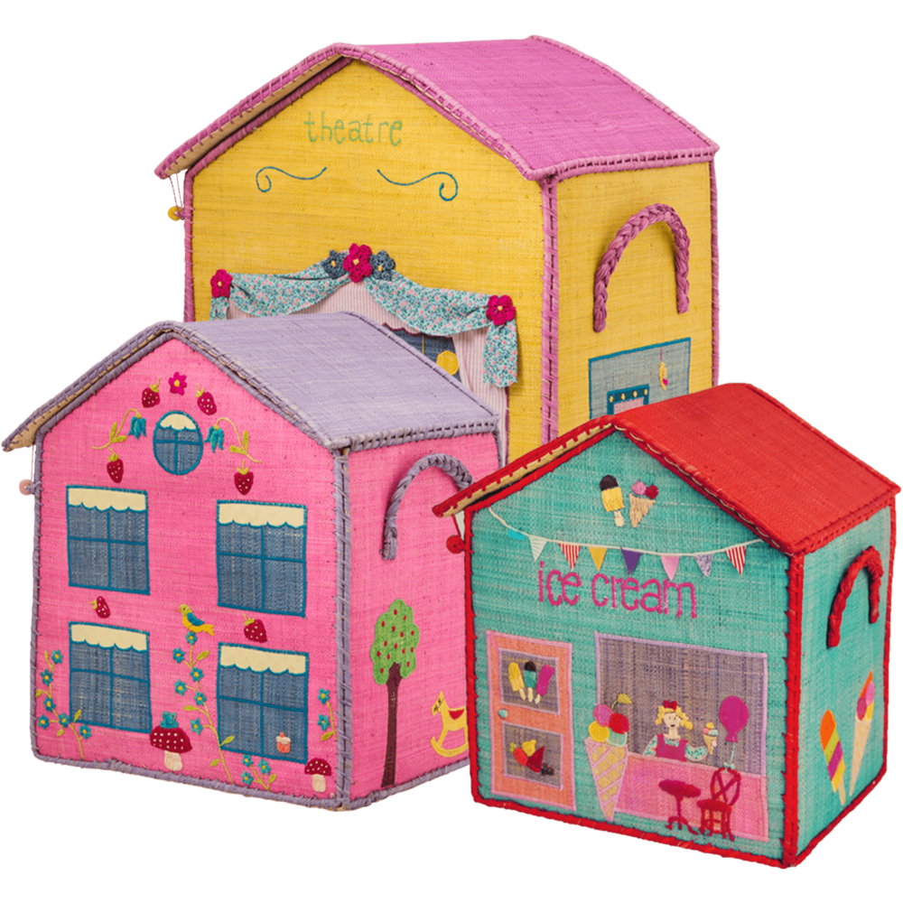 RICE Raffia Spielzeug Körbe City Theme 3er Set