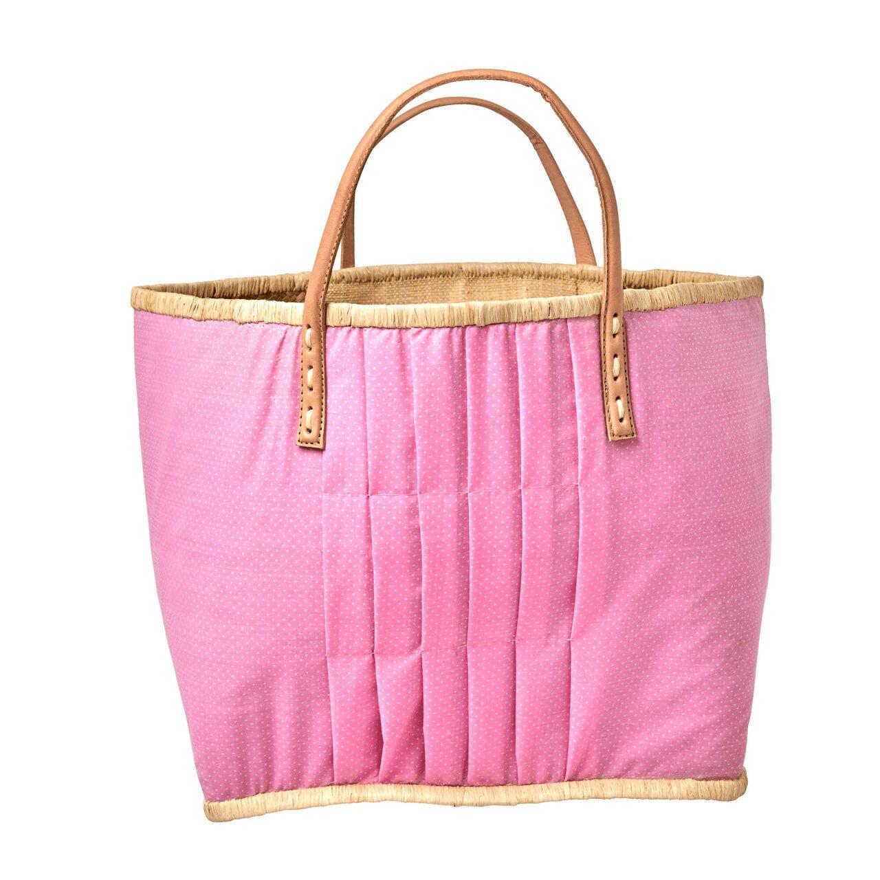 RICE Bast Tasche mit Leder Henkel Pink