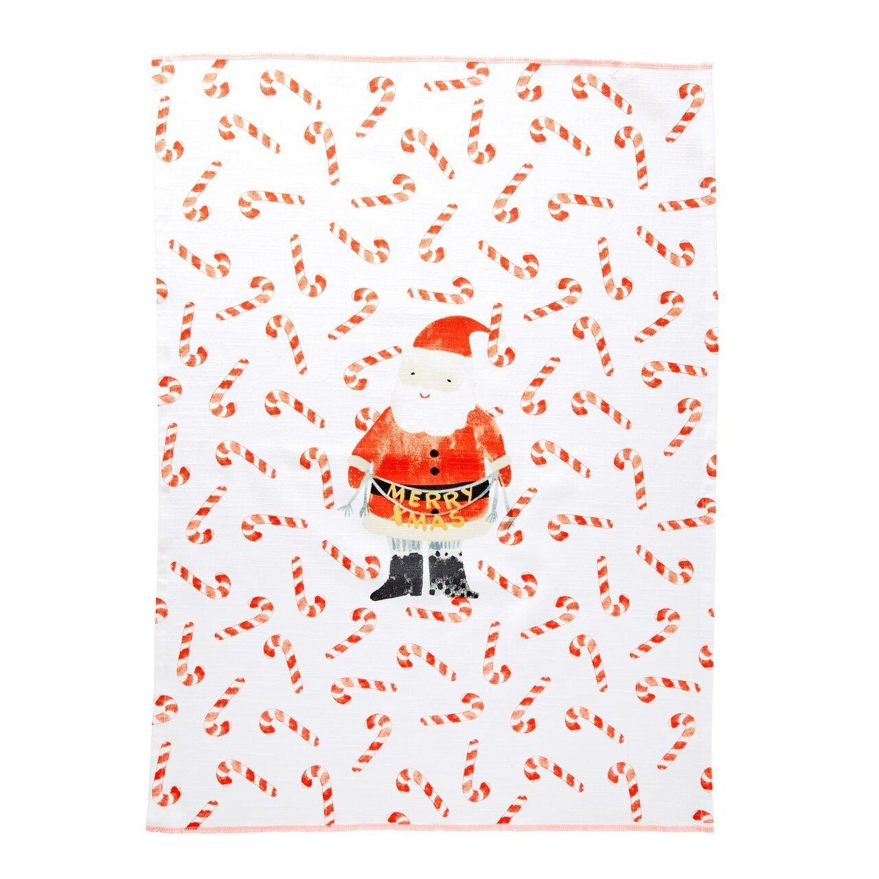 RICE Geschirrhandtuch Santa and Candy Cane aus Baumwolle