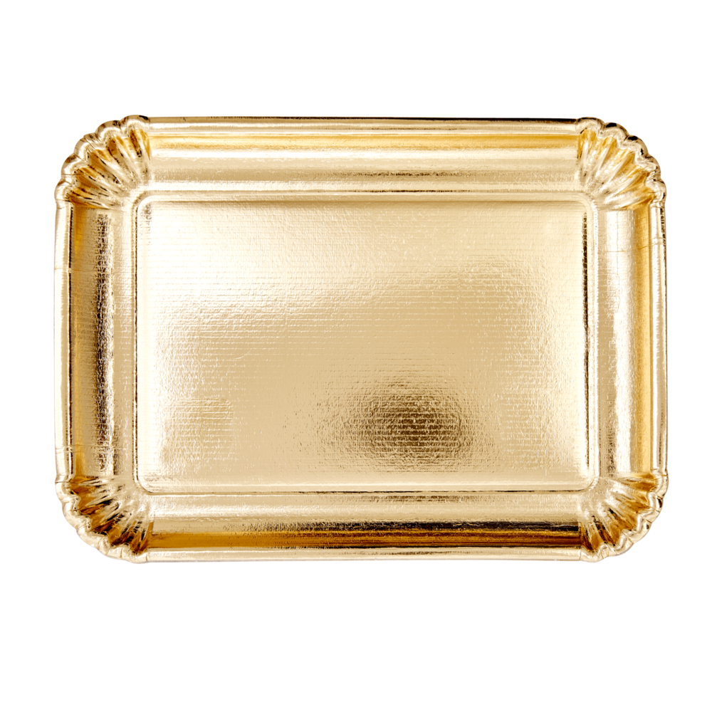 RICE große rechteckige Pappteller gold