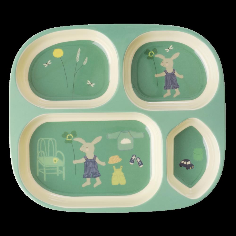 RICE Kinder-Teller 4-geteilt Bunny