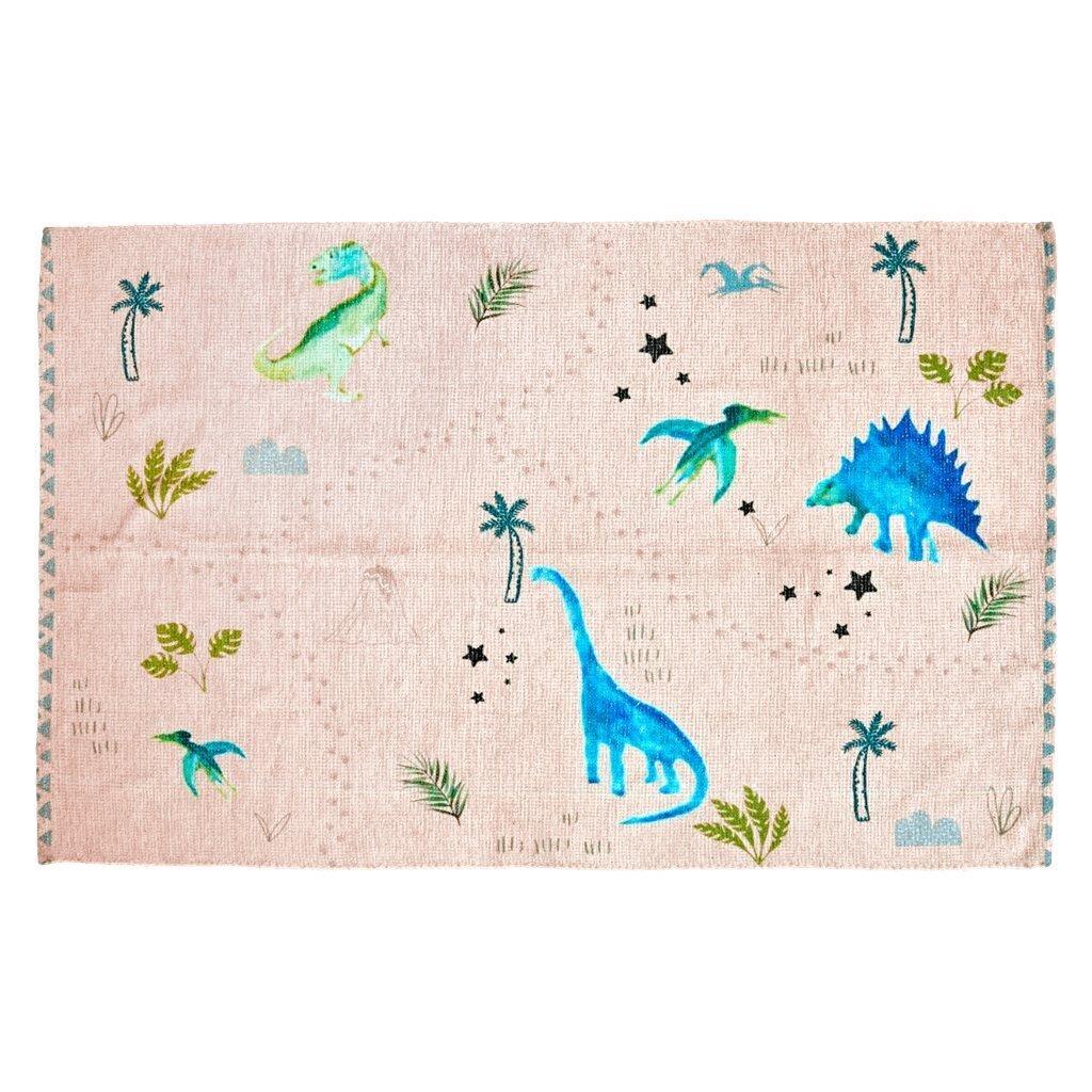 RICE Kinder Teppich Dinosaurs Print