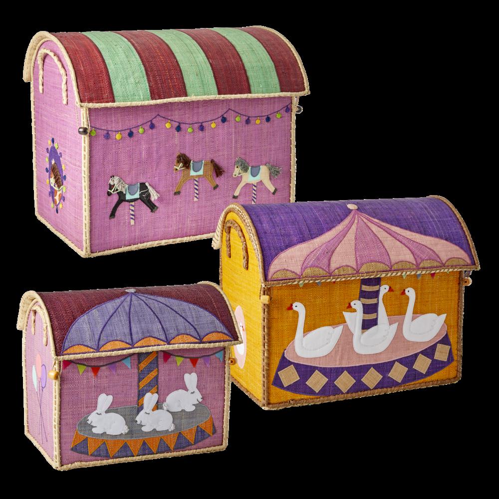 RICE Kinderzimmer Aufbewahrungskörbe Karussell 3er Set