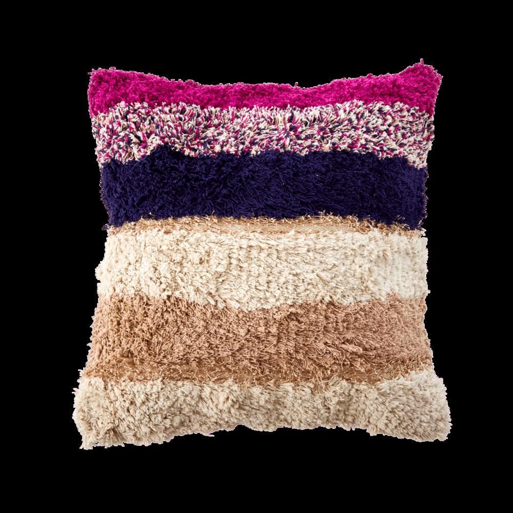 RICE Kissen Baumwolle Streifen