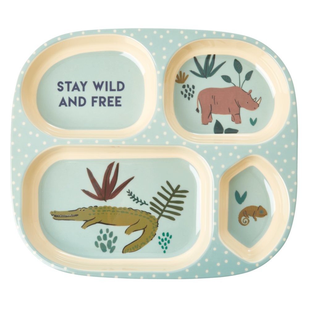 RICE Melamin Kinder Plate Jungle Animals