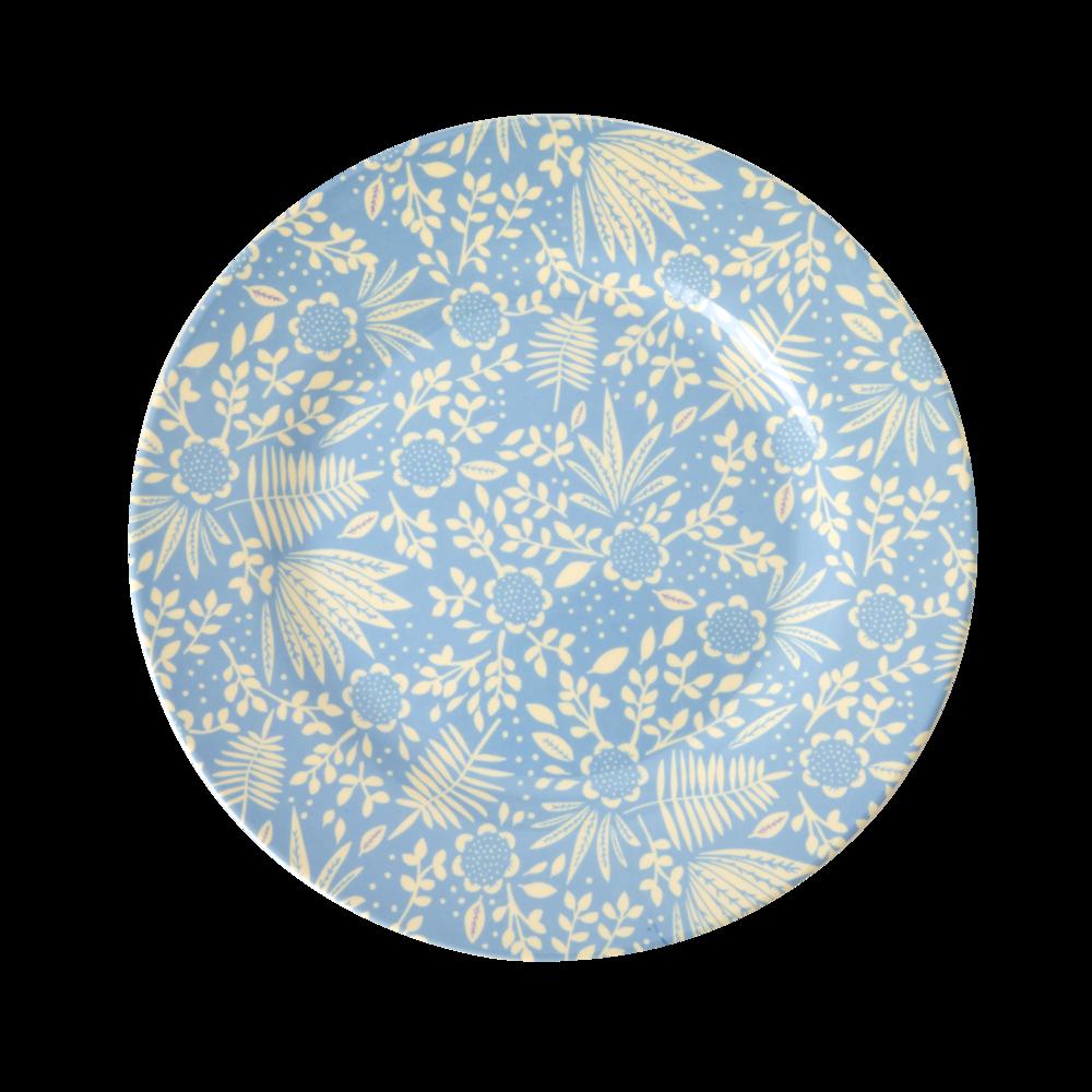 RICE Melamin Teller Blue Fern and Flower