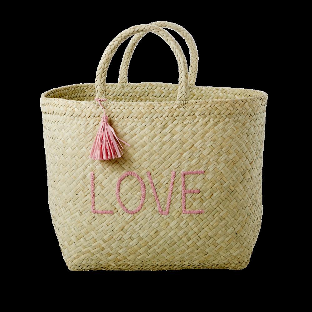 RICE Raffia Einkaufstasche Love XL