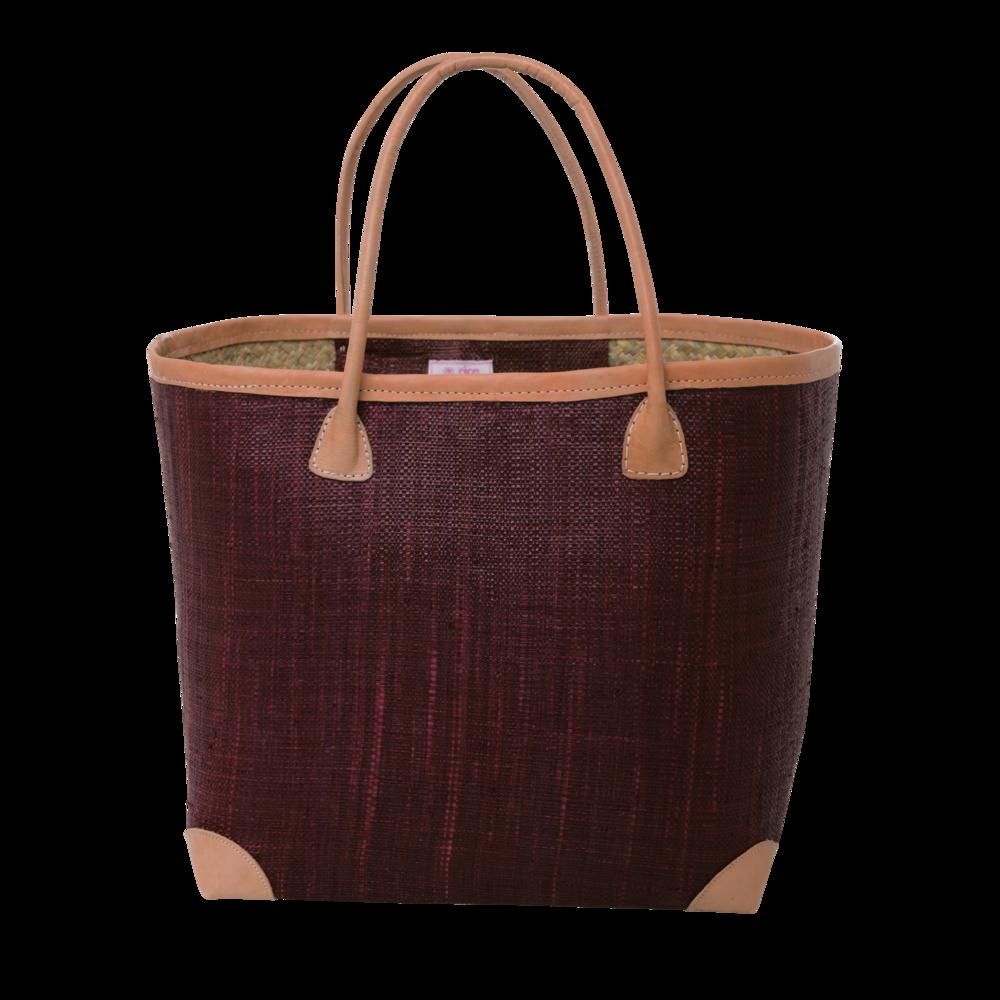 RICE Raffia Einkaufstasche mit Leder Details