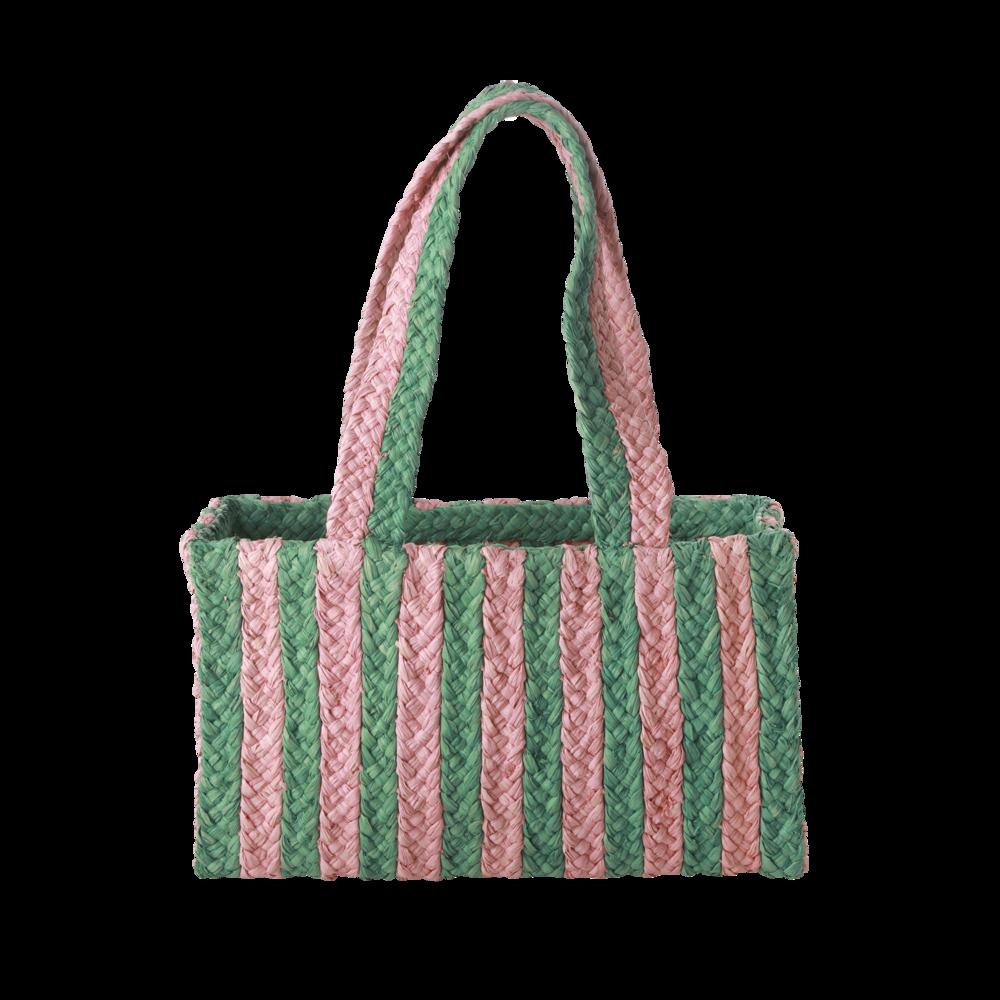 RICE Raffia Shoppingtasche Streifen