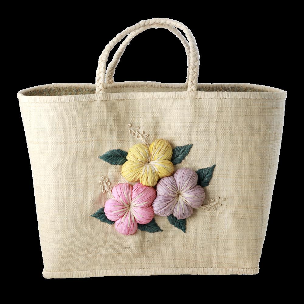 RICE Raffia Tasche Blumen