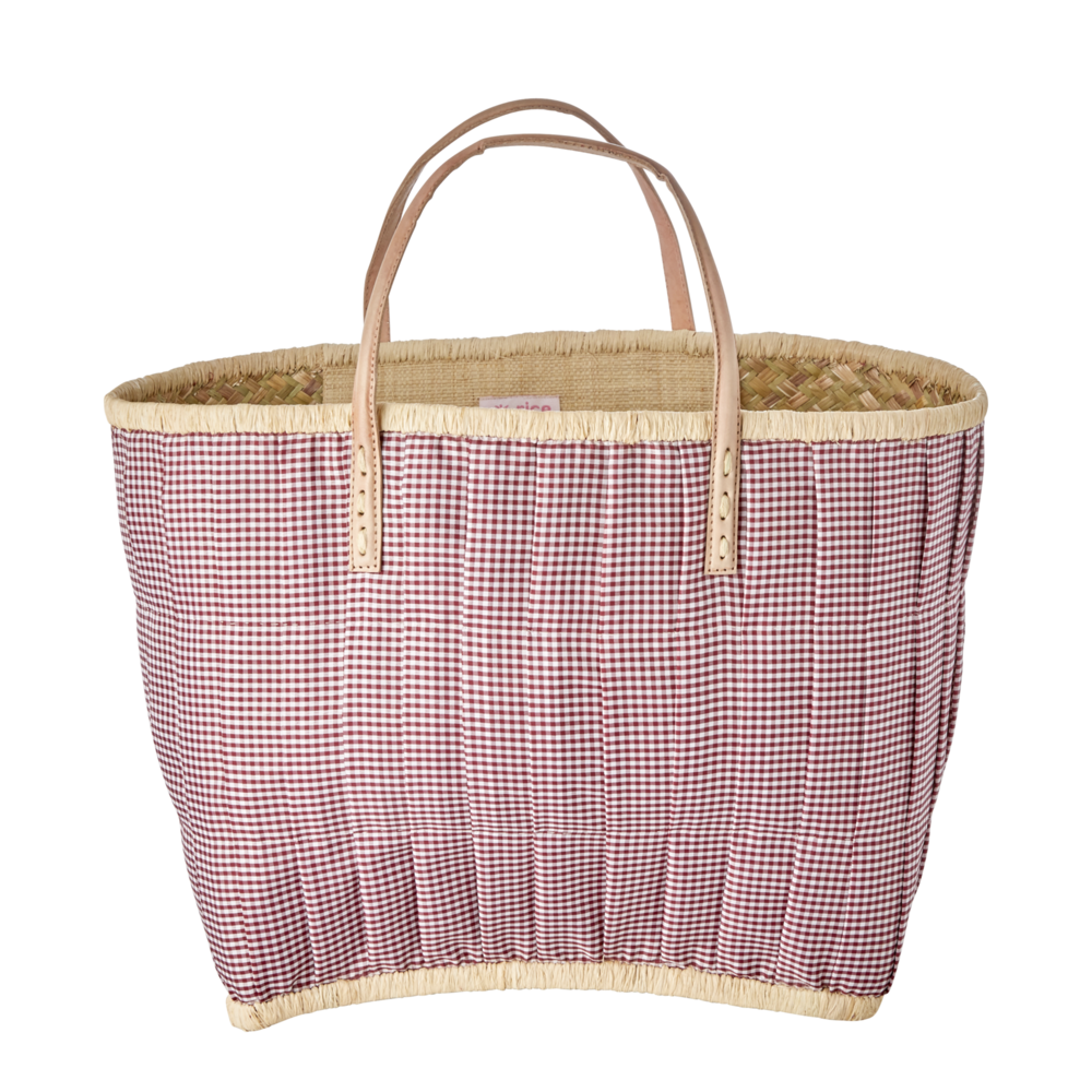 RICE Raffia Tasche Bordeaux
