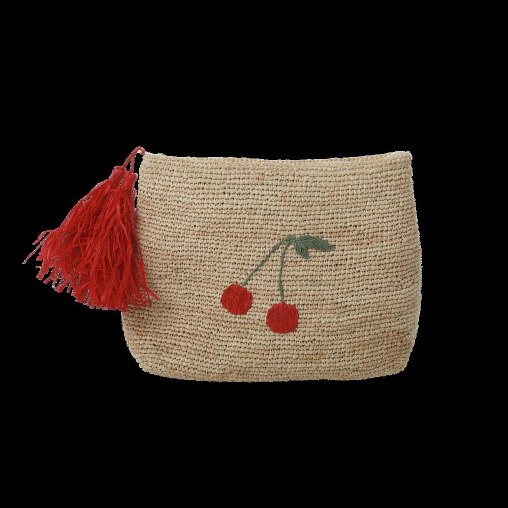 RICE Raphia Handtasche mit Kirsch-Applikation