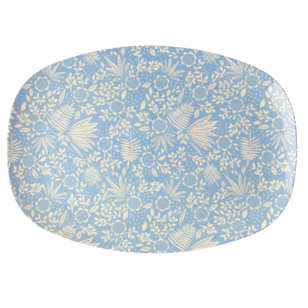RICE rechteckiger Teller Blue Fern and Flower