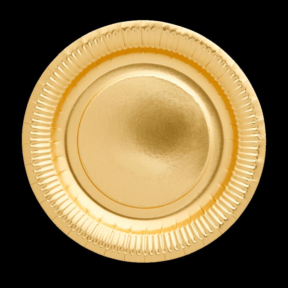 RICE runde Pappteller gold 8Stk