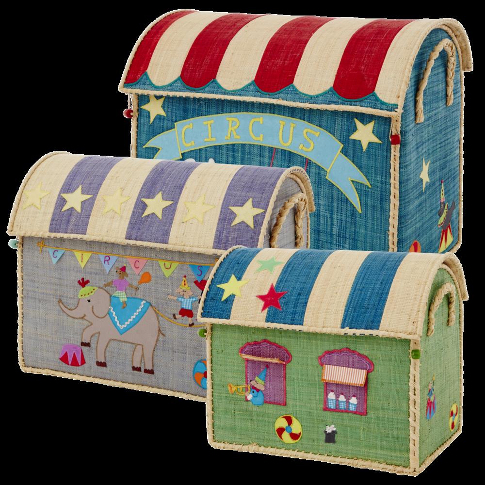 RICE Spielzeugkörbe Aufbewahrung 3er Set Circus