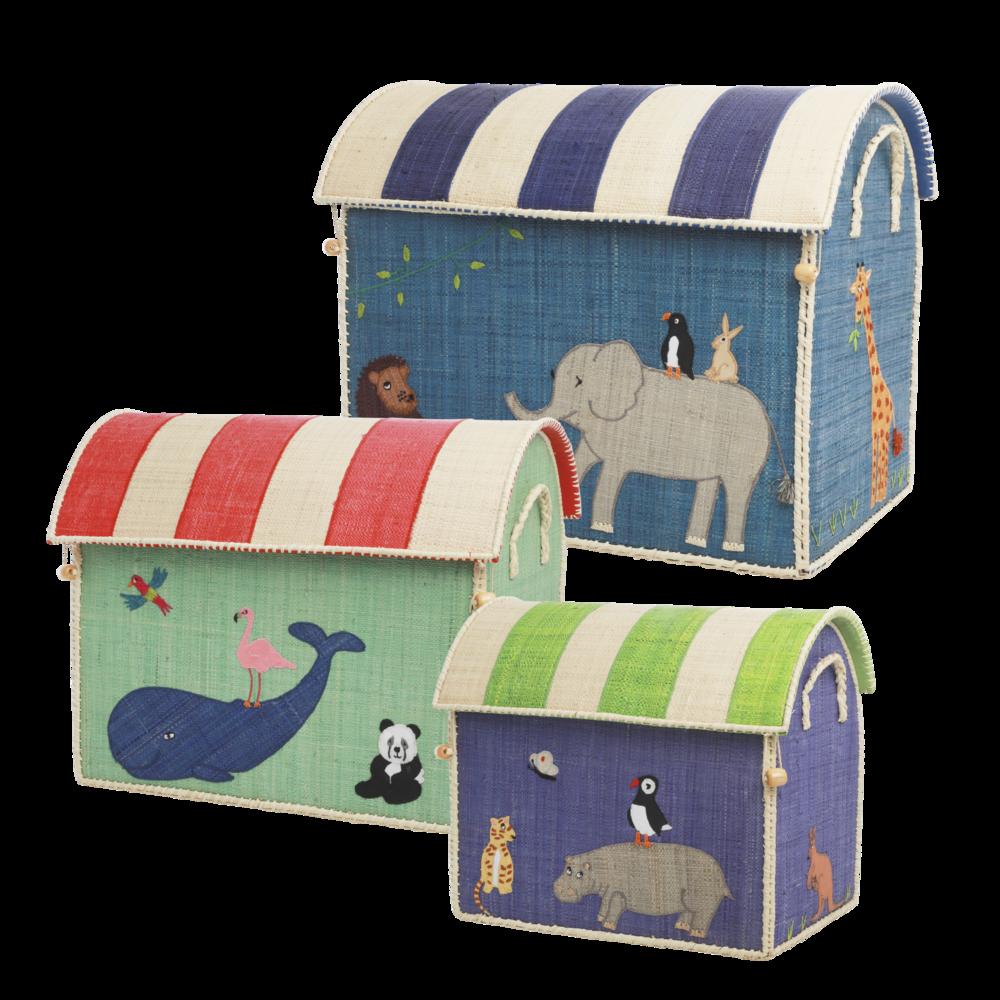 RICE Spielzeugkörbe Aufbewahrung Zootiere 3er Set