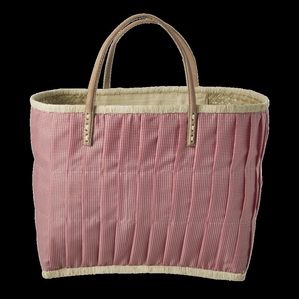 RICE Tasche aus Bast im Karo Design